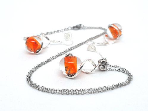 Parure collier et boucles d'oreilles en verre de Murano orange