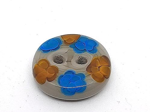 Bouton gris à fleurs jaunes et bleues en verre de Murano