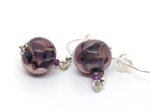 """Boucles d'oreilles """"Belle âme"""" coeur violet en transparence"""