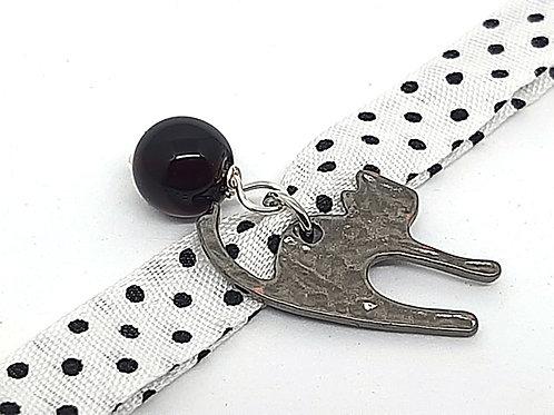 Bracelet tissu Pois blanc chat noir perle en verre de Murano