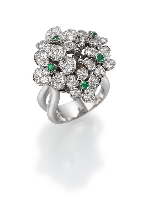 Ring  LP1460 Bouquet of Diamonds and Tsavorite