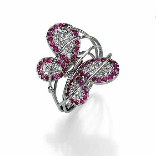 Ring  LP1452 Papillon ,  Diamonds and ruby
