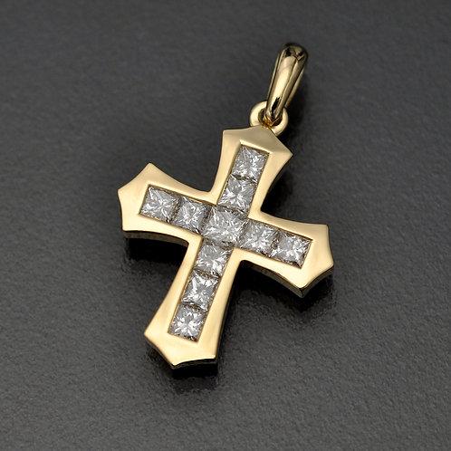 diamond cross prndan , diamond cross necklace, Princess cut diamonds cross pendant