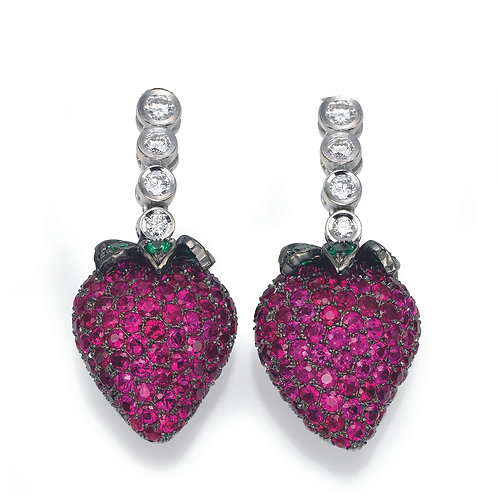Earrings LP 2703 strawberry of Diamonds and Ruby
