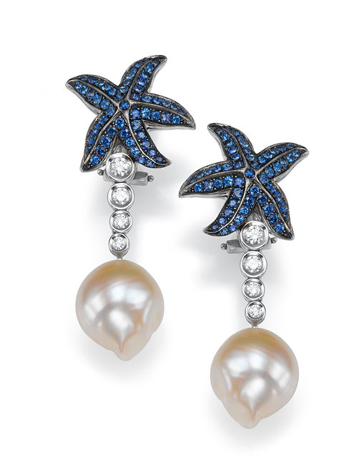 Earrings LP 2523 Coral Reef ,  Diamonds , Sapphire and pearls