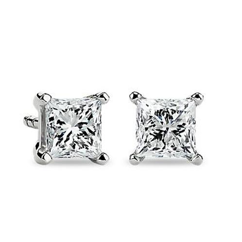diamonds earrings, studs earrings, Princess cut diamonds earrings.