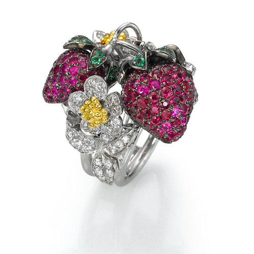 Ring  LP1529 Strawberry , Diamonds, Rubies and Tsavorite