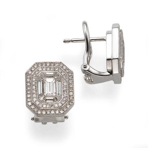 diamonds earrings, studs earrings, Emerald cut diamonds earrings.