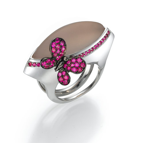 Ring  LP1481 Papillon , Ruby and Rose Quartz