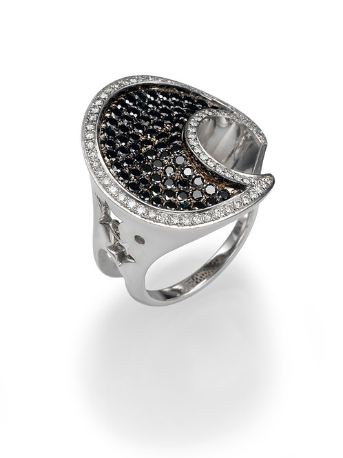 18K gold Ring LP 1026 Masquetade,  Diamonds and Black diamonds