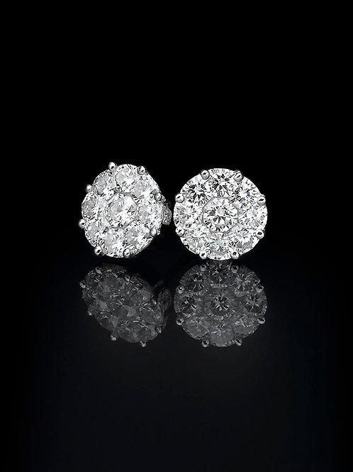 diamonds earrings, studs earrings, round diamonds earrings.