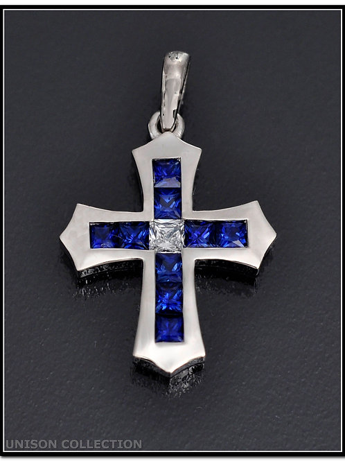 Sapphire cross prndan, Sapphire cross necklace, Princess cut  cross pendant