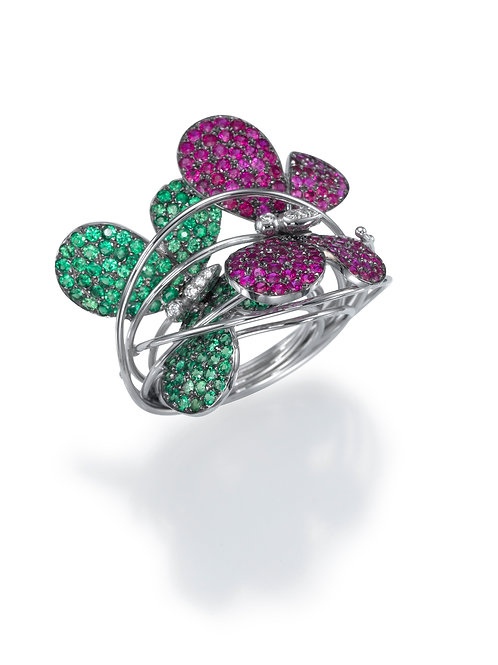 Ring  LP1471 Papillon , Diamonds, Rubies and Tsavorite
