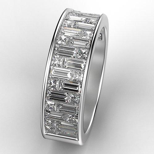 Bridal band, wedding band. wedding ring, anniversary ring. baguettes diamonds ring