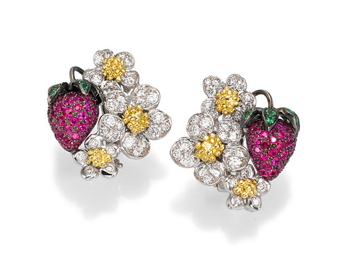 Earrings LP 2768 strawberry of Diamonds and Ruby