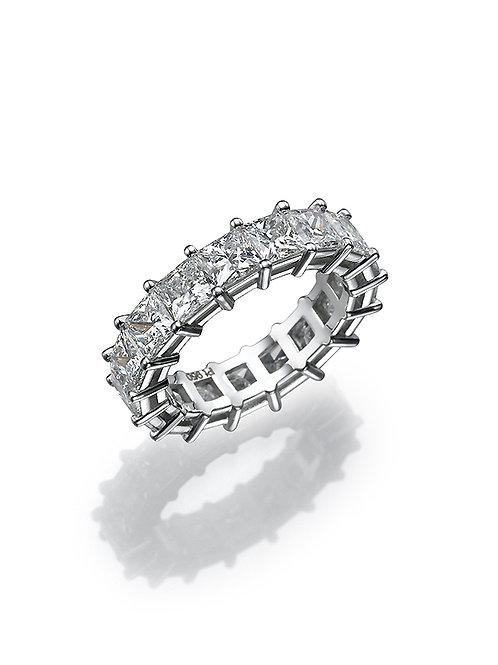 Bridal band, wedding band. wedding ring, anniversary ring.Princess cut diamonds ring