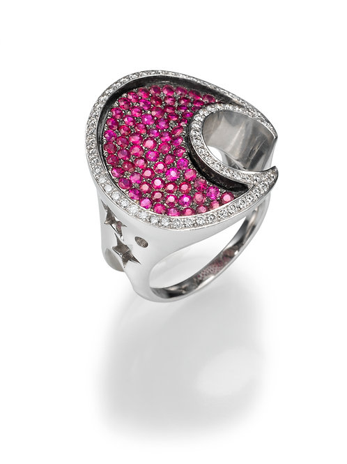 18K gold Ring LP 1367 Masquetade,  Diamonds and rubies