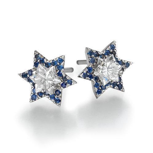 diamonds earrings, studs earrings,David star shape diamonds earrings.