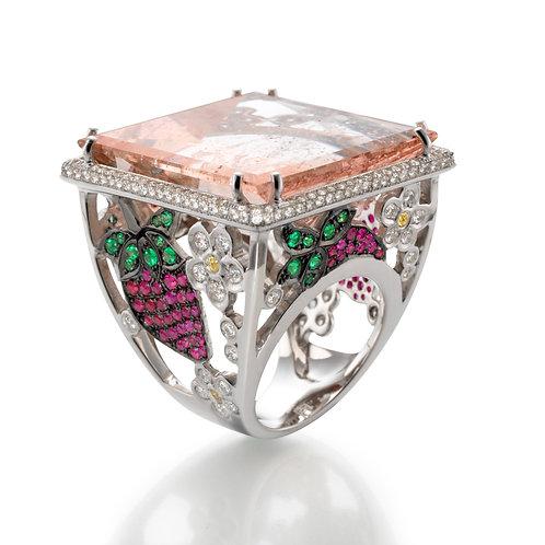 Ring  LP1950 Morganite , Rubies and Diamonds