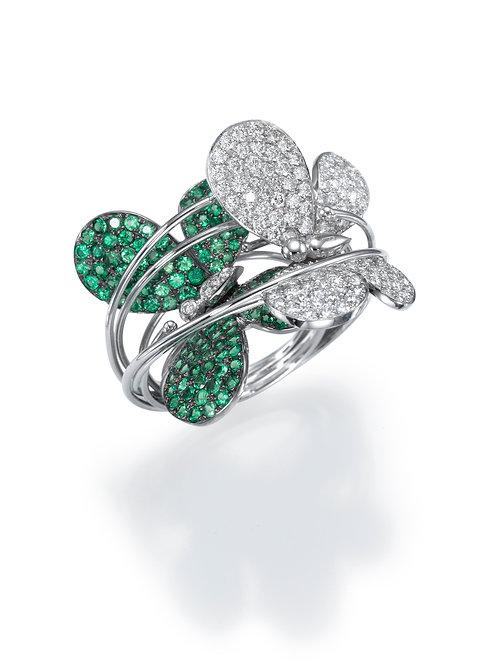 f Ring  LP1470 Papillon ,  Diamonds and Tsavorite