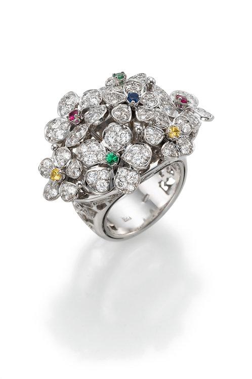 Ring  LP1461 Bouquet of Diamonds and Tsavorite ruby sapphire
