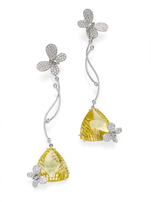 Earring  LP 2766 Papillon ,  Diamonds AND Lemon Quartz
