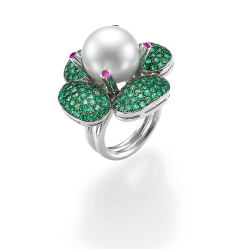 Ring  LP1474 Bouquet of Pearls and Zavorite
