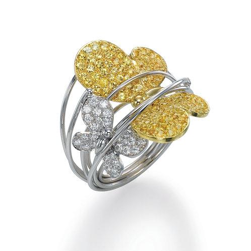 Ring  LP1469 Papillon ,  Diamonds and YellowSapphire