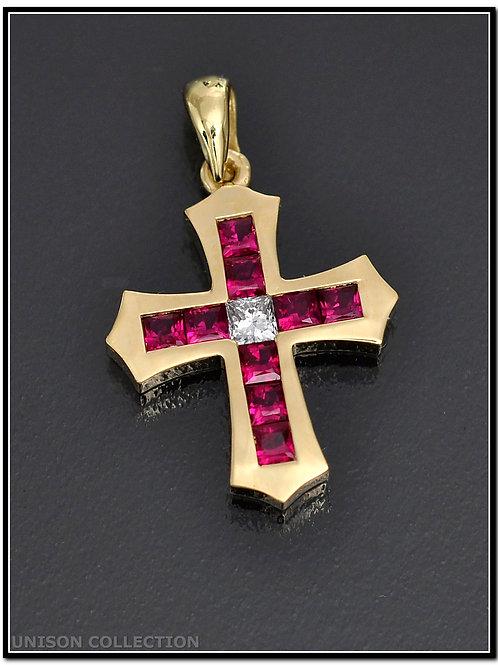Ruby cross prndan, Ruby cross necklace, Princess cut  cross pendant