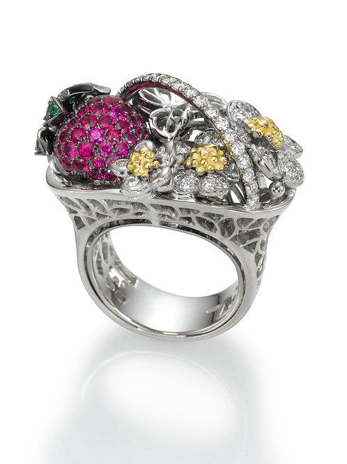 Ring  LP1519 Strawberry , Diamonds, Rubies and Tsavorite