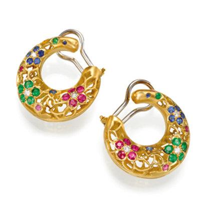 Earrings LP 2608 Intima ,  Diamonds, Ruby and Tsavorite