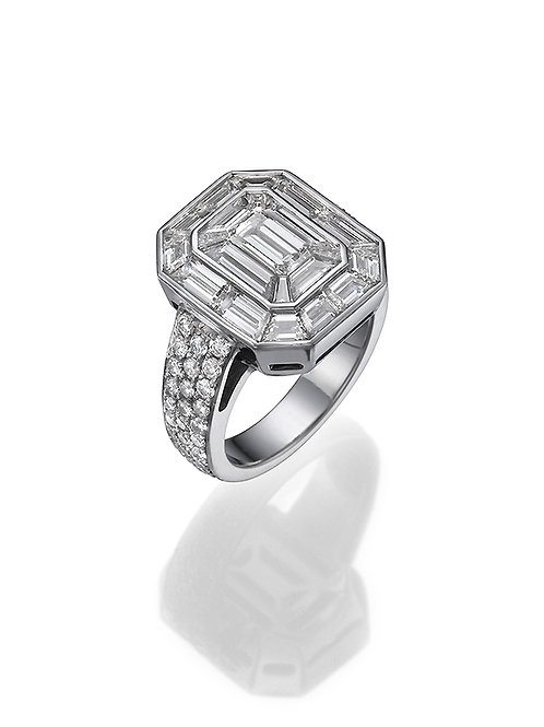 Solitaire ring, Engagemant ring, Emerald cut Solitaire ring