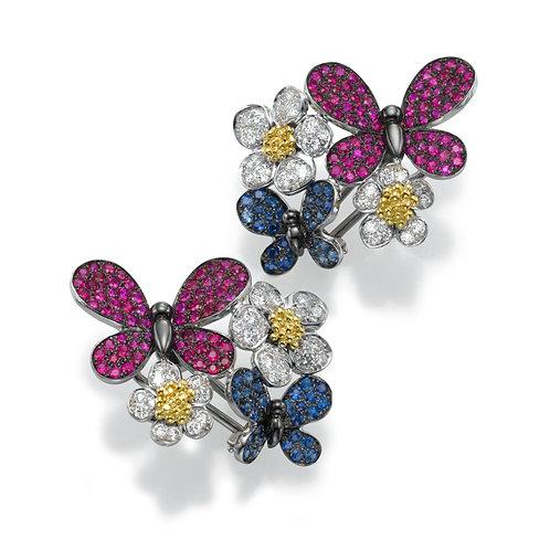 Earring  LP 2764 Papillon ,  Diamonds' Rubies and Sapphire