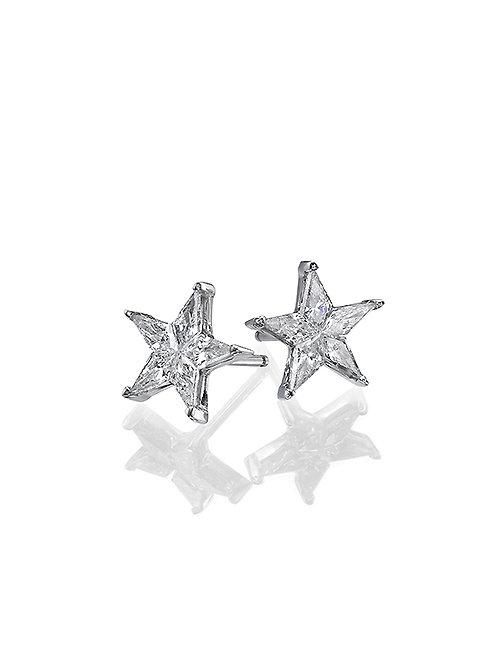 diamonds earrings, studs earrings, star shape diamonds earrings.