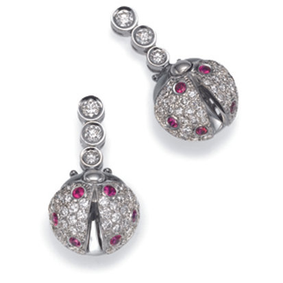 Earrings LP 2629 Coccinelle,  Diamonds and Rubies