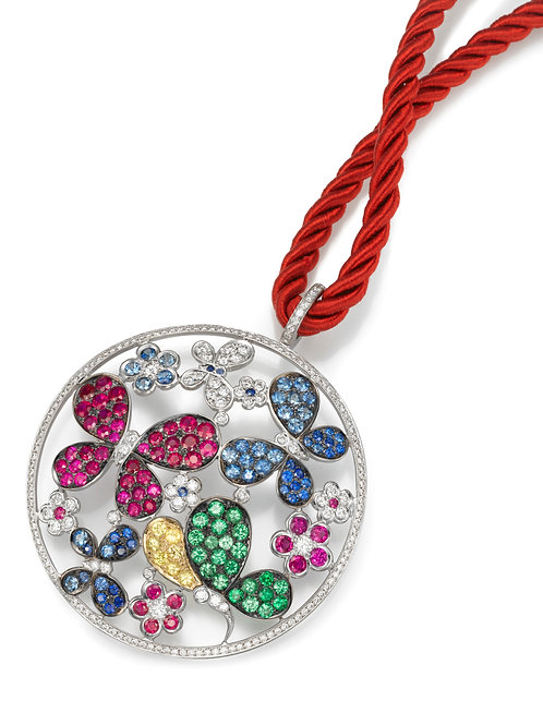 Pendant LP 3789 Papillon ,  Diamonds, Rubies ,Tsavorite and Sapphire