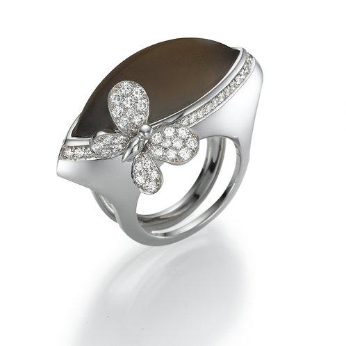 Ring  LP1480 Papillon , Diamonds and Smoky Quartz
