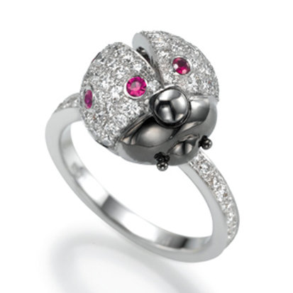 Ring LP 1627 Coccinelle,  Diamonds and Rubies
