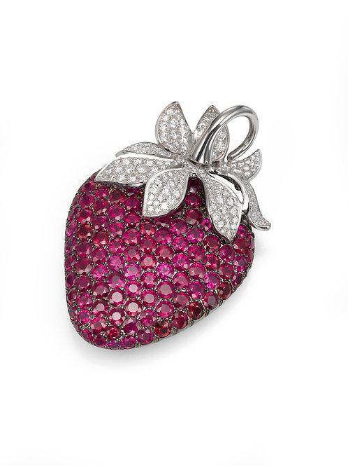 Huge strawberry pendant LP 3325 Diamonds and Ruby