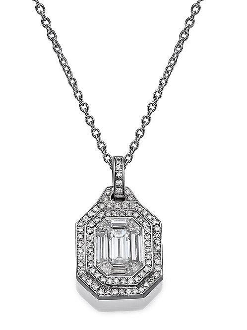 Diamond Solitaire Pendant , diamond solitaire necklace. Emerald cut diamond pendant