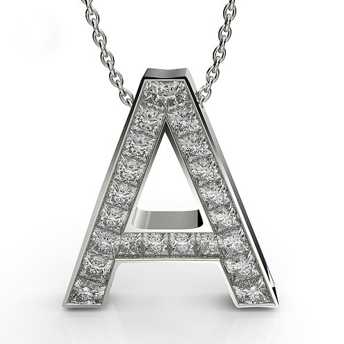 Initials   Princess cut diamonds pendant