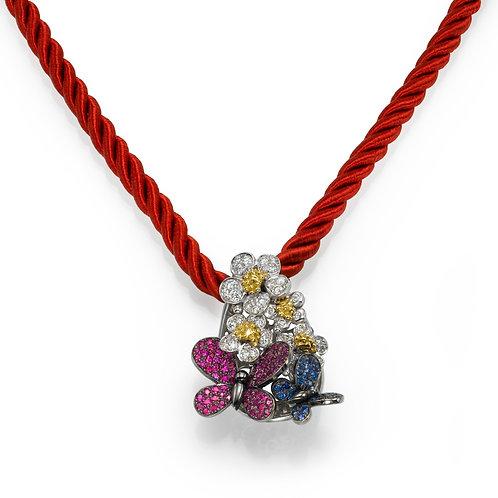 Pendant LP 3766 Papillon ,  Diamonds, Rubies and Sapphire