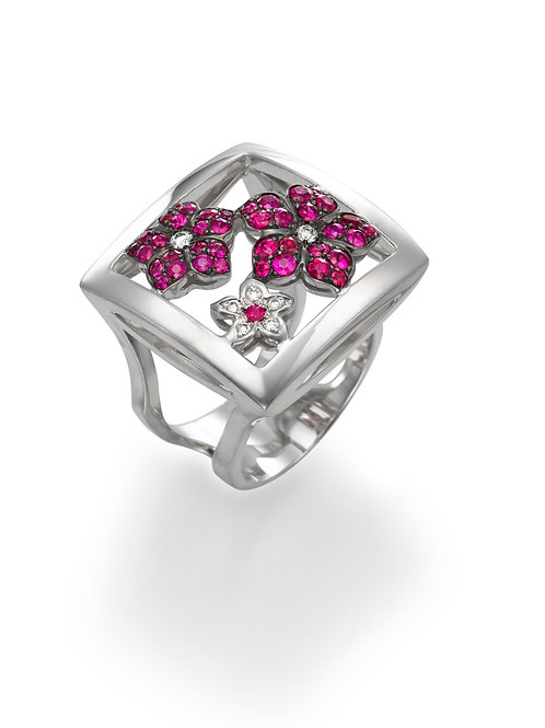 Ring  LP1585 Bouquet of Diamonds and Ruby