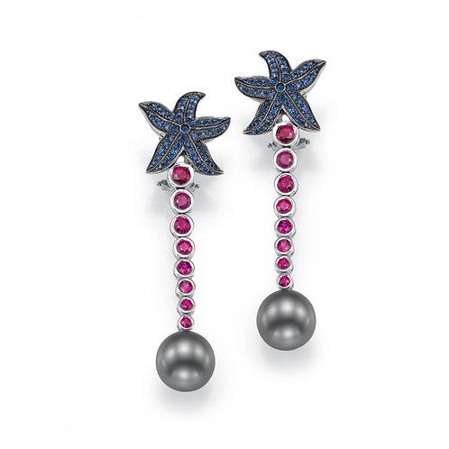 Earrings LP 2623 Coral Reef ,  Sapphire and pearls