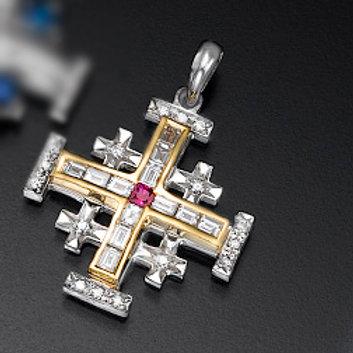 diamond cross prndan ,Jerusalem cross pendant, diamond cross necklace, baguettes diamonds cross pendant