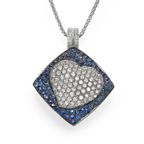 18K gold Pendant LP 3616 Masquetade,  Diamonds and Sapphires