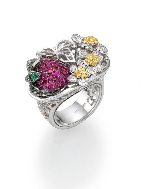 Ring  LP1518 Strawberry , Diamonds, Rubies and Tsavorite