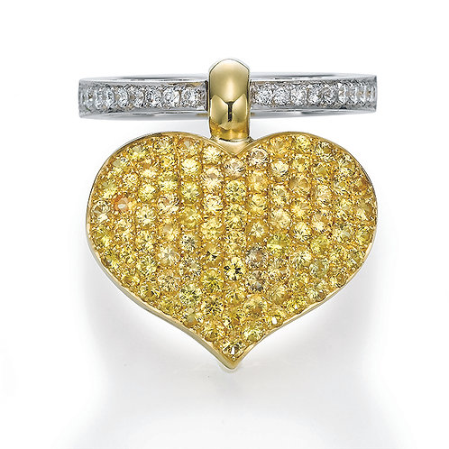 18K gold Ring LP 1785 Swinging Hearts,  Diamonds and Yellow Sapphires