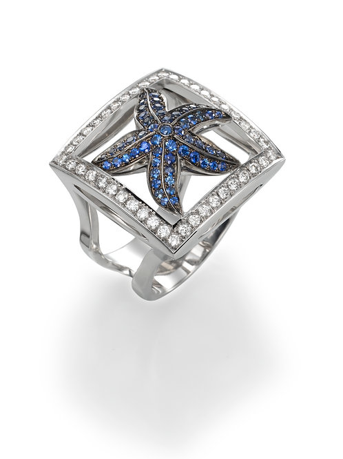 Ring LP 1662 Coral Reef ,  Diamonds and Sapphire