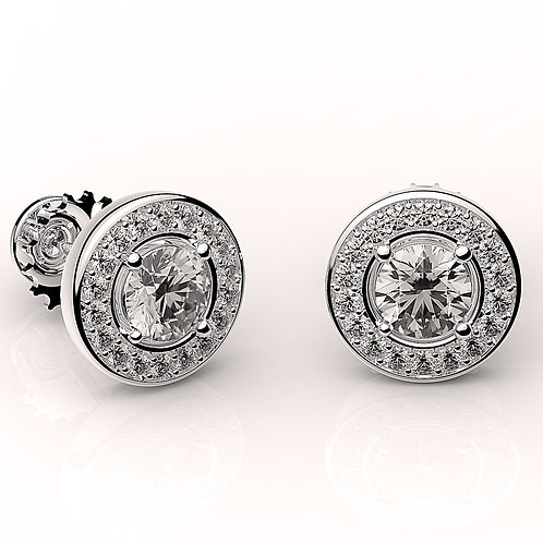 Classic Earring with halo 4514  Round brilliants
